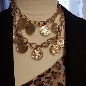 Coined double strand necklace